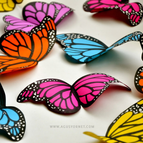 truebluemeandyou: DIY Cardstock Butterflies. Handmadepride is featured again with this DIY (but they rarely post original sources and when you click on the link you are taken to their blog - not the post). For the original source and an actual tutorial click on the link below.  rainbowsandunicornscrafts:  DIY Easy Colorful Cardstock Butterflies Tutorial and Template by Agus Yornet here.  truebluemeandyou: you could use the really simple but perfect template for lots of crafts.