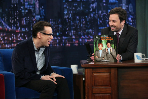 Jimmy Fallon and Fred Armisen's Album Covers        Did you know Jimmy and Fred used to be in bands together before their time on Saturday Night Live? Last night they treated the audience to a song from each of these definitely real albums.