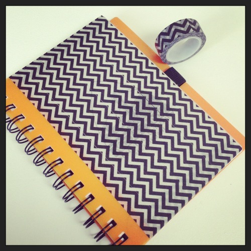Jazzed up an old notebook with some Chevron patterned Washi Tape! Quick, easy and fun 5 minute DIY project :-)