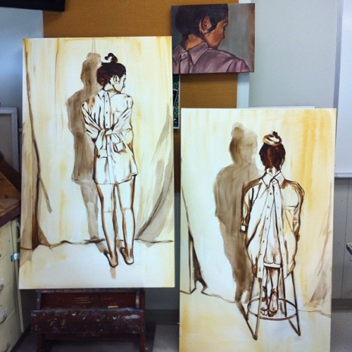sundaysgone:  Just started some big ol paintings. #oilpainting #oil #art #butt #alexcutler #canvas