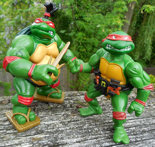 dinosaurdracula:  Some of the best of the original Ninja Turtles toys came out late in the line. Get a load of Sumo Raphael — the Ninja Turtle with a giant gut. Full review, over here!  Ninja Turtles really did have some of the absolute weirdest figures.
