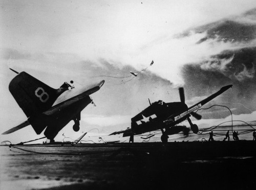 Carrier Crashes…Image #4: A Grumman F6F Hellcat destroyed in an incident on the USS Princeton
