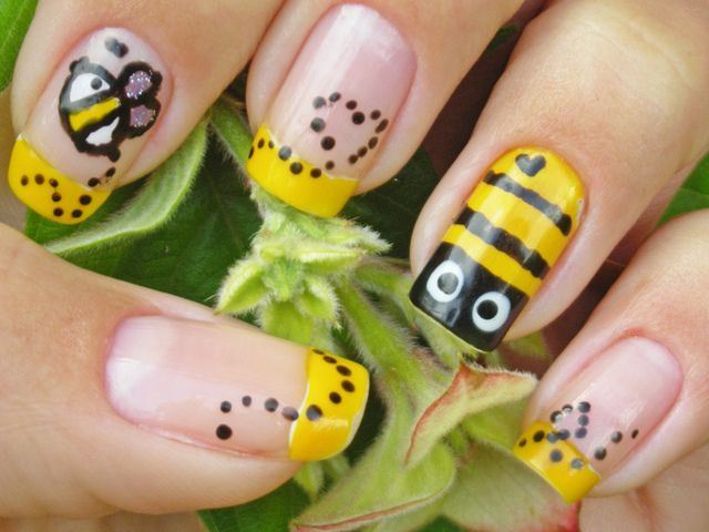 Maquillaje Paso a Paso — Diseño de uñas abejas Uñas muy tiernas con...