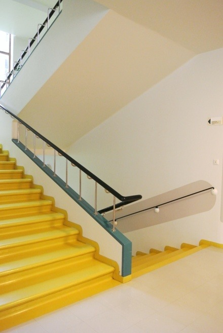 The Paimio Sanatorium and famous yellow staircase by Alvar Aalto