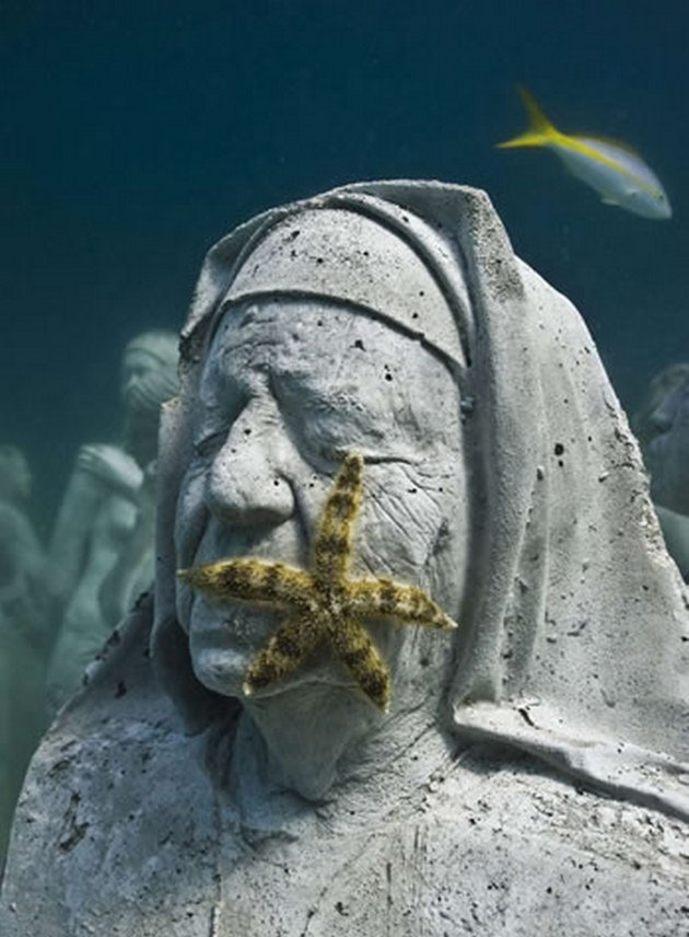 Yes, still underwater statues