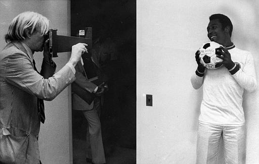 In 1977 Andy Warhol was commissioned to shoot a series of portraits of sports stars, including the New York Cosmos' Pele. (AP Photo/Claudia Larson)
