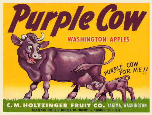 Postcard with vintage Purple Cow Apples crate box label print. This is a fine repro of a very rare Washington State crate label originally printed in the early 1900's. Also love the greeting cards and that poster!