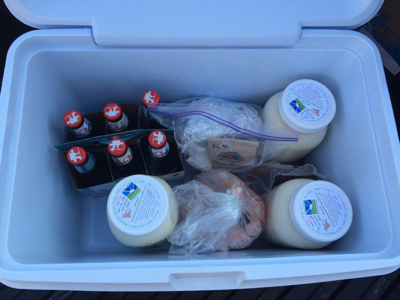 "skeleton-weather:  How to leave Vermont.  1 1/2 gallons raw milk 1 roaster chicken(1.5lbs) 1lb beef stew meat 1lb raw cows milk cheese 1/2lb raw goats milk cheese 6 pack assorted Long Trail beers  (Not pictured) 1 case (24 bottles) Long Trail ""Sick Day"" IPA  All animal products certified humane, organic, and GMO free.  Hell yes… My second favorite part about moving to south Carolina is being able to buy raw milk, its the best milk ever!!!"