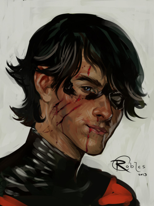 blacksirensolo:  Painted up a Nightwing sketch tonight!