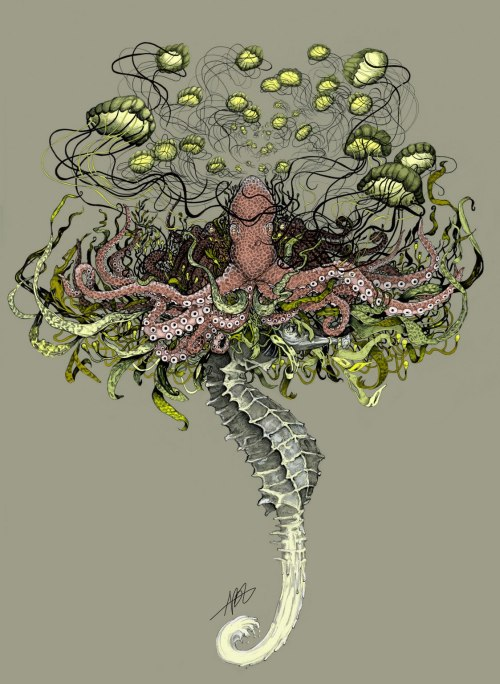 """The Bloom"" 18"" x 25"" Traditional Ink/ Digital Color 2013 www.amelia-langford.com"