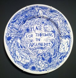 Silk-screen on ceramic plate by Keaton Henson.