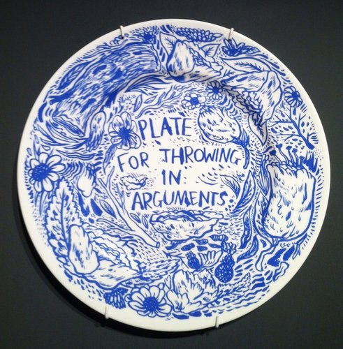 opisthenar:  silk-screen on ceramic plate by keaton henson