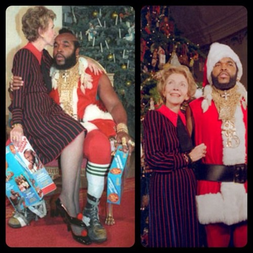 manbartlett:  blaxidermy:  ❤ oh, the 80s. Nancy Reagan and SanTa from @mental_floss  !