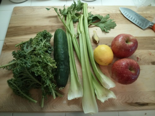Day 1 Meal 2: Mid Morning Juice 1 Cucumber 4 Celery stalks 8 Kale Leaves 1/2 Lemon 2 Apples This produced a lot of juice, 2 cups worth. The taste, unfortunately, was not as good as the meal 1. I am starting the feel affects on my body already. I am not sure if it is a feeling attributed to hunger, but I do feel a slight tingly sensation through my whole body.