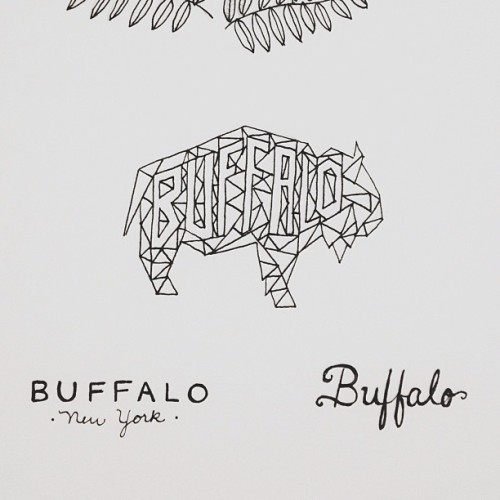 excelsiorlady:  First experiment with line-y, angle-y buffalo 😊 #sketching #sketch #typography #drawing #handdrawntype #handlettering #moleskine #buffalo #buffalony