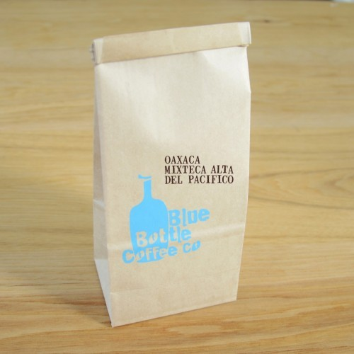 Oaxaca Mixteca Alta del Pacifico Blue Bottle Coffee. It's roasted very light so the coffee yields nutty and chocolate notes. It's hella good with a cookie in the morning. NOM FREAKING NOM. What I really like about Blue Bottle Coffee is that they serve their roasts within days of finish.