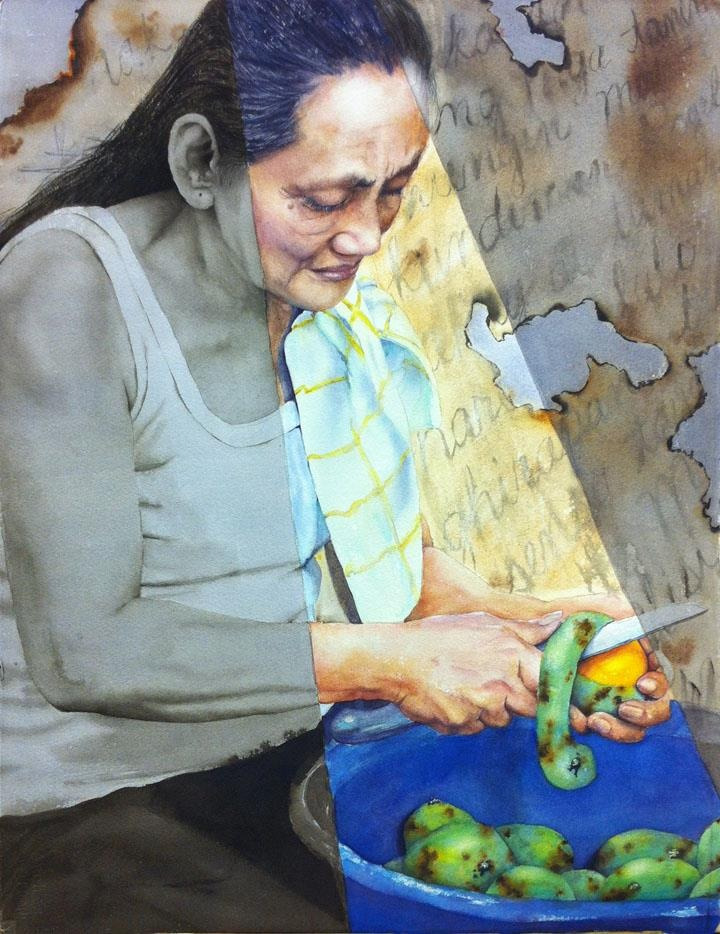 What Lies Beneath by Janet Groza Watercolor, 2012  My aunt made this and dedicated it to my grandmother. It depicts a mother awaiting petition papers to be processed for her immigration to the US from the Philippines.  Also visit: http://www.facebook.com/pages/Janet-Groza/192238237474423?ref=hl