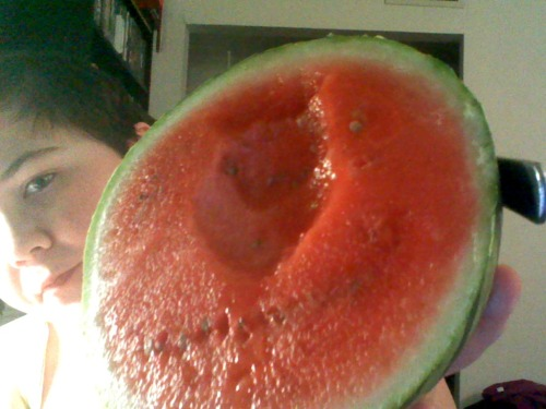 im usually terrible at picking good watermelons, so when i sliced this one open i literally moaned