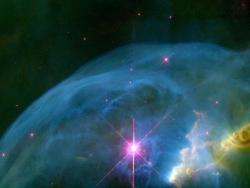 spaceplasma:  An Expanding Bubble in Space A star 40 times more massive than our sun is blowing a giant bubble of material into space. In this colorful picture, the Hubble Telescope captured a glimpse of the expanding bubble, dubbed the Bubble Nebula (NGC 7635). The beefy star [lower center] is embedded in the bright blue bubble. The stellar powerhouse is so hot that it is quickly shedding material into space. The dense gas surrounding the star is shaping the castoff material into a bubble. The bubble's surface is not smooth like a soap bubble's. Its rippled appearance is due to encounters with gases of different thickness. The nebula is 6 light-years wide and is expanding at 4 million miles per hour (7 million kilometers per hour). The nebula is 7,100 light-years from Earth in the constellation Cassiopeia.  Image Credit: NASA, Donald Walter (South Carolina State University), Paul Scowen and Brian Moore (Arizona State University)