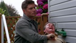 castiel-counts-deans-freckles:  fire-of-fire:  laughing at how casual dean looks  what a beautiful day. the sun is shining, the birds are chirping, and oh look Dean Winchester is killing another demon. yup, just another beautiful day in the neighborhood.