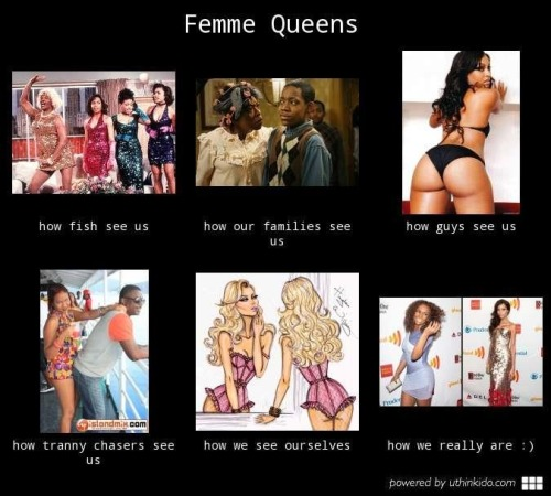 "An illustration on ""Femme Queens"" sent to me anonymously from a sister of mine.  I asked her where she got it [No official source] and she said, ""On some page for us girls on Facebook."" What I love about the illustration is it realness, and that fact that trans women of color are illustrating how others see us and how we in fact see ourselves.  We are many distorted things to many people, but we are who we are to ourselves.  I'm PROUD to be seen by my sisters as an example of ""how we really are : )"" alongside my sister Isis King."