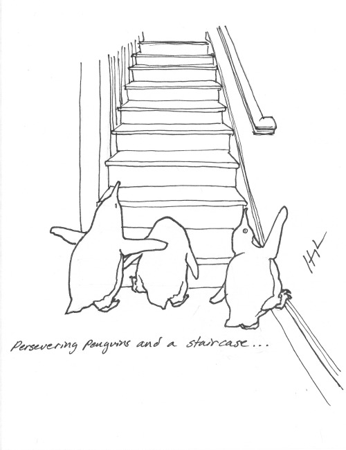 Persevering Penguins and a staircase… #perseveringpenguins #TRexTrying