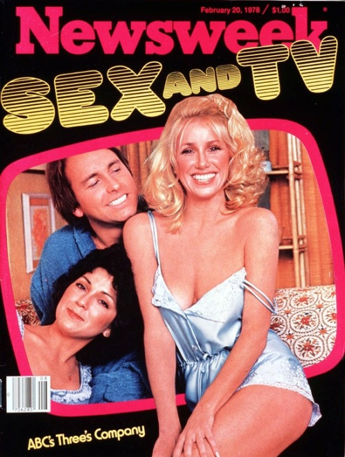 superseventies:  Joyce DeWitt, John Ritter & Suzanne Somers (Three's Company) on the cover of Newsweek, February 1978.  Classic.