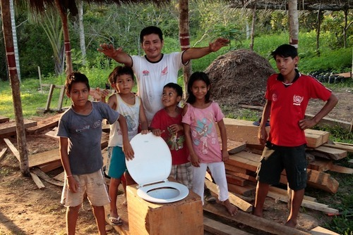 Peru composting toilet seat construction finished