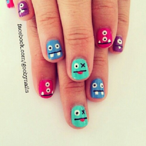 Omg I am SO trying this. #uglydoll #creatures #nailart #cute