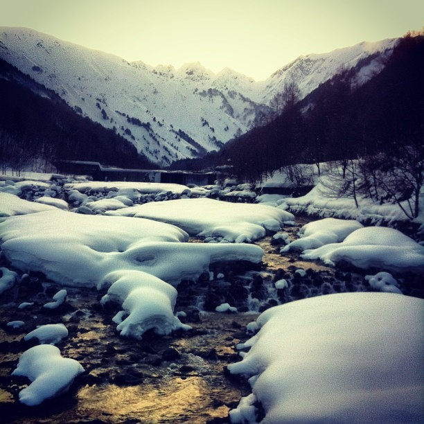 A beautiful valley at the end of a backcountry run in Hakuba. (at Hakuba, Japan)