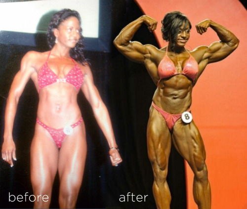 Monique Jones Before & After I love female bodybuilder transformation photos, they're real-life FMG. Here's Monique Jones. She started out as a figure competitor and is currently one of the top FBB pros. Way to go Monique!