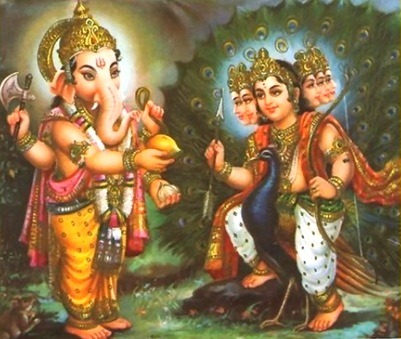 hinducosmos:  Ganesha and Skanda (Murugan)  givin dat mango to his lil bro karthikeya