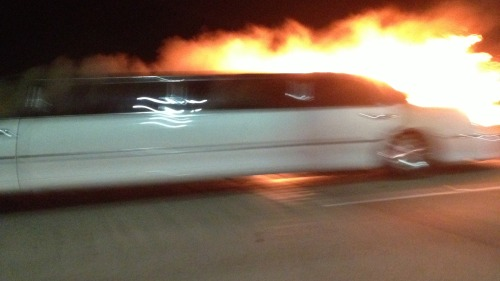 'Pull over, pull over!': Driver describes horrific Bay Area limousine fire (Photo: David Solomon / NBC Bay Area) Five women who were killed Saturday evening after the stretch limousine they were riding to a bridal party burst into flames on a bridge over the San Francisco Bay tried to escape the inferno through the vehicle's narrow partition, according to the driver. Read the complete story.