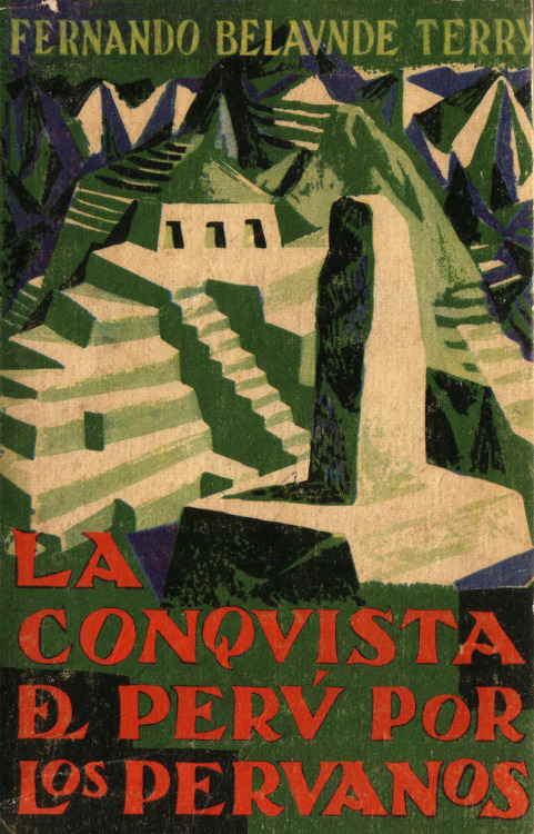 This cover of the book La Conquista del Perú por los Peruanos (1959) by architect-politician Fernando Belaúnde Terry (1912-2002) presents an interesting visual reinterpretation of the Inca architectural site of Machu Picchu. The book presents this modernist architect's agenda to promote an infrastructural renaissance of Peru that emulated the long-lost grandeur of the country's pre-Columbian ancestors. I discuss the history behind some of these aspirations here, yet this image, among the more interesting of the myriad representations of this fascinating place, is intriguing in its own right.