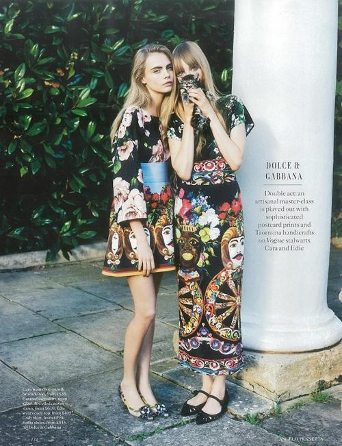 British Vogue - Cara Delevingne and Edie Campbell.