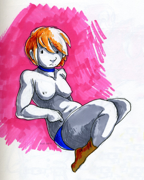 This is a woman that I drew. Uhm. Yeah. Socks. MARKERS.