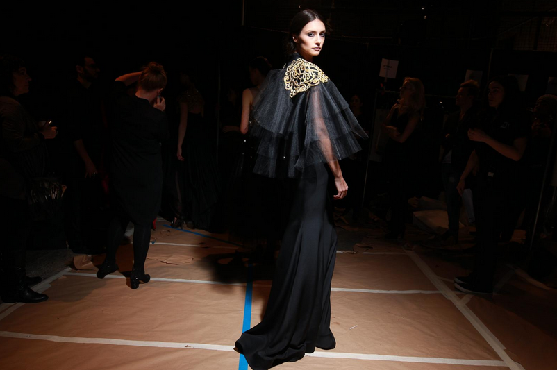 Backstage at Christian Siriano F/W '13.
