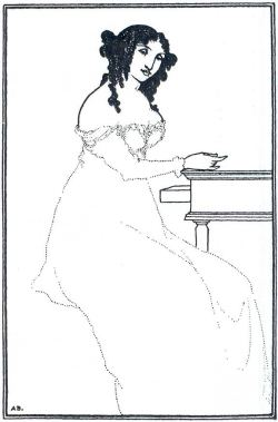 Aubrey Beardsley, Frontispiece to Peter O'Sullivan's A Book of Bargains, 1896  The Business of Madame Jahn.