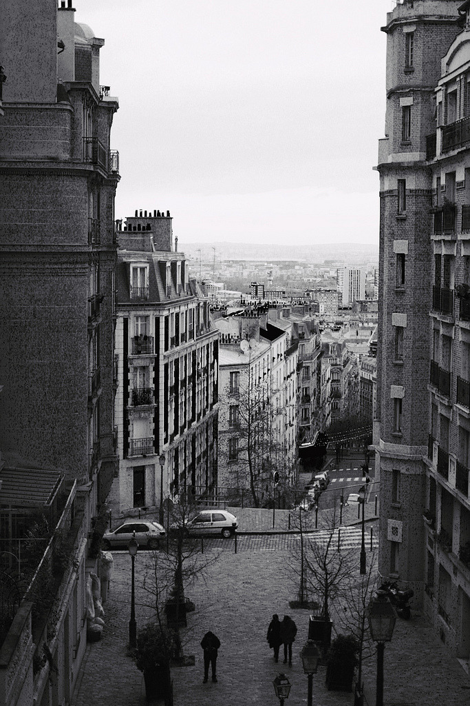 Paris, you're lovely. Wider view, this time in black and white.