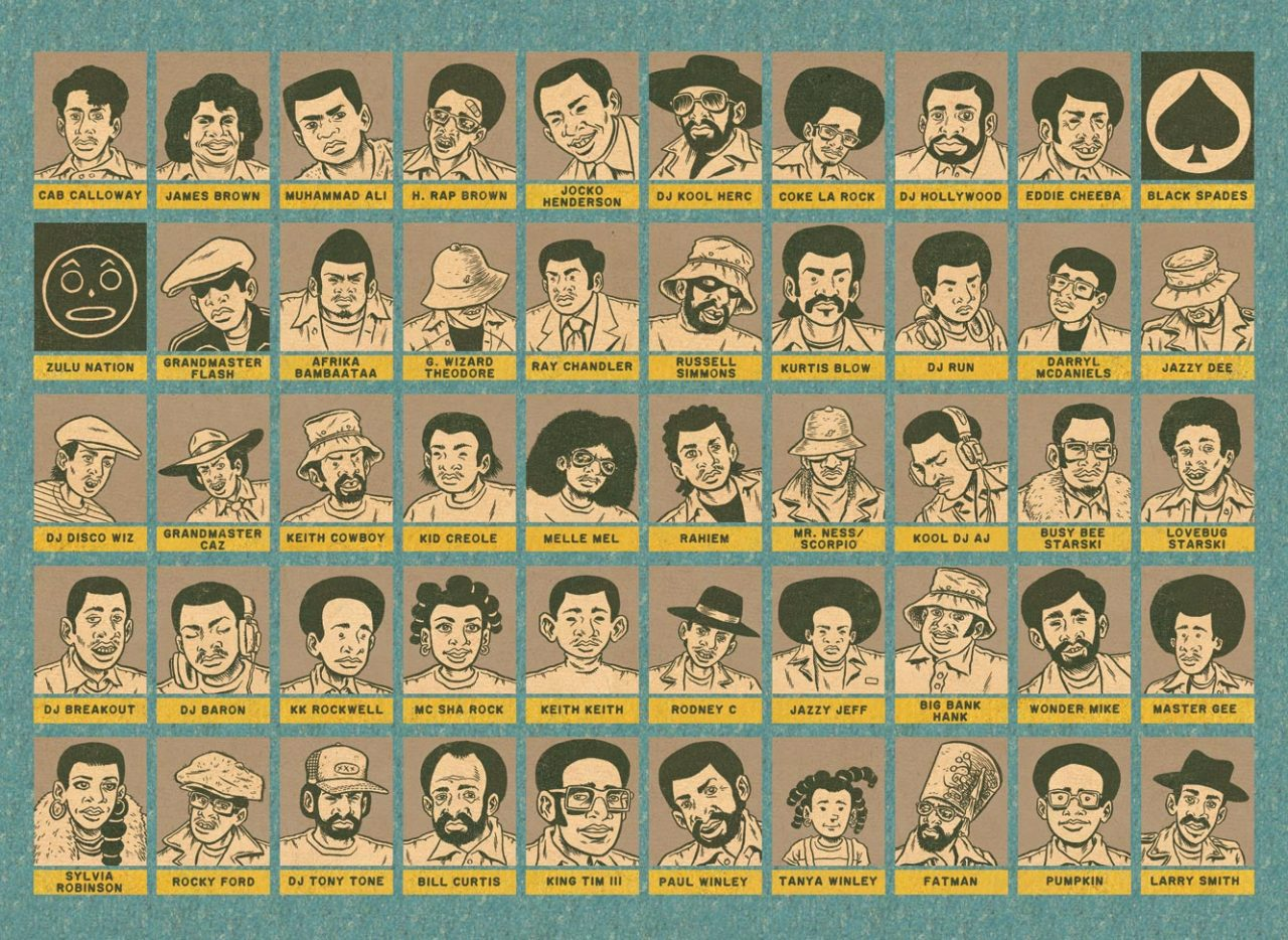 A few handfuls of characters in Hip Hop Family Tree vol. 1. http://www.amazon.com/exec/obidos/ASIN/1606996908/boiboi-20