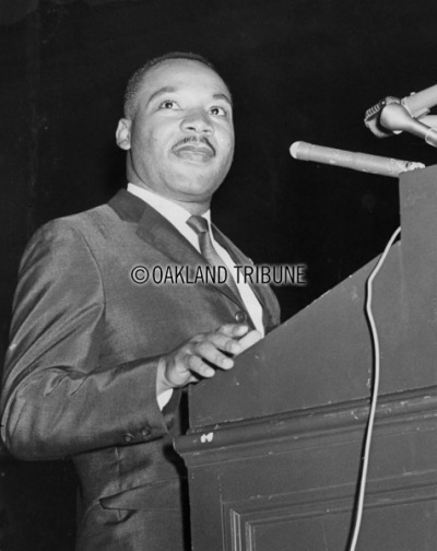 "BLACK HISTORY MONTH San Francisco, CA May 30, 1964 - Dr. Martin Luther King speaks at the ""Religious Witness for Human Dignity"" rally at the San Francisco Cow Palace. (Photo by Don Mohr / Oakland Tribune Staff Archives)"