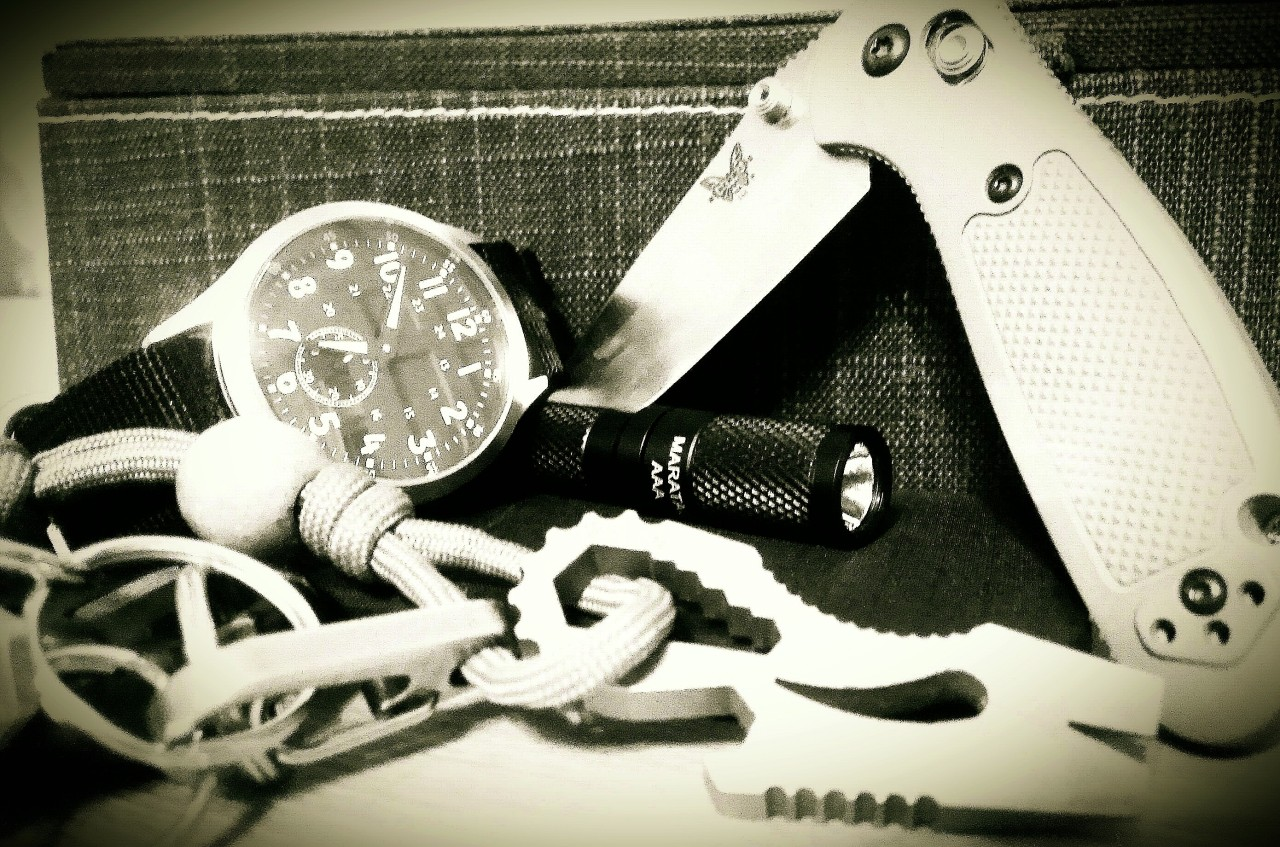 Everyday Carry Submitted By: mgrant5x5 Maratac small pilots watch - CountyComm Maratac AAA flashlight - CountyComm Butterfly ultra light Wallet  - REI Benchmade Mini Griptillian - Amazon Keys with a Chopper TT Pocket Tool