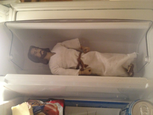 "cassjaytuck:  I asked my brother what Jesus was doing in his fridge and he said ""just chillin"""