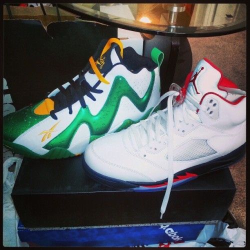 Jordan Retro 5 and Kamikaze II Sonics
