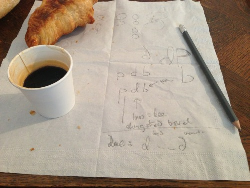 Explaining the subtleties of type design over breakfast.