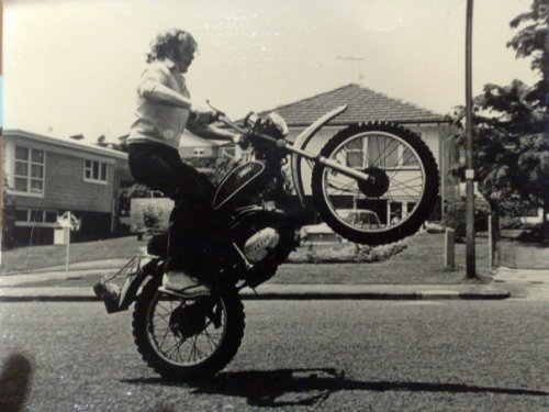 B&W photography old school cool cool wheelie motorcycle my dad personal photo too cool kiwi aucklander new zealand new zealander B&W photo B&W photography black and white black and white photography