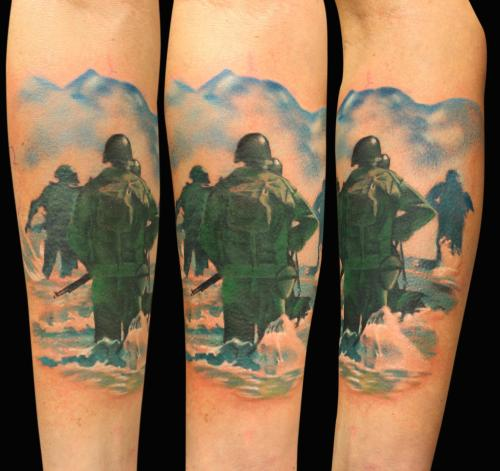 My D-day tattoo done by Gunnar Valdimarsson (www.facebook.com/gunnariceland), guest artist at Attitude Tattoo in Moss, Norway.