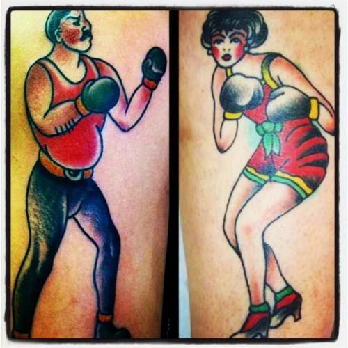 box tattoo,tattoo boxing,classsic tattoo desing boxin woman