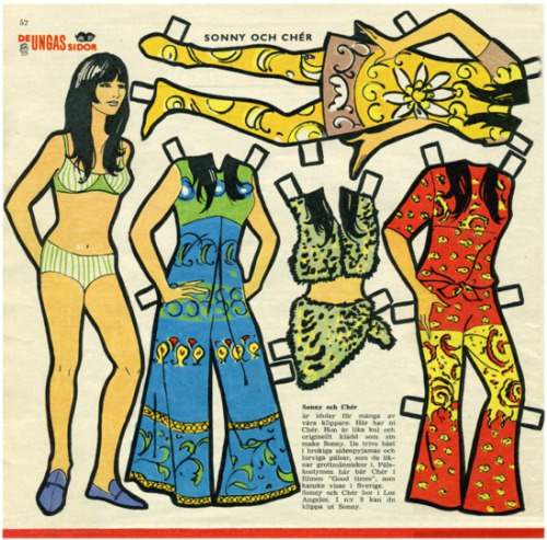 Cher paper doll with fashions, 1970s,.