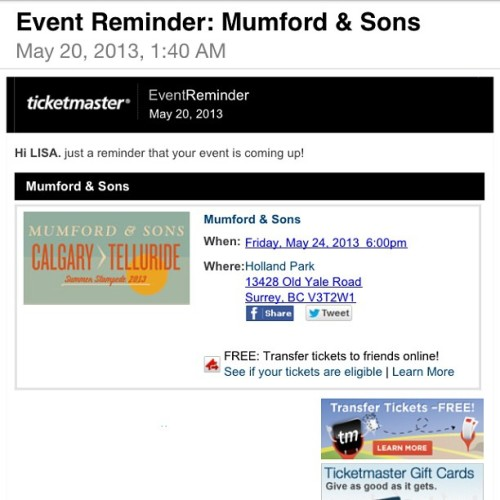 leonardodicaprioscock:  thx ticketmaster but i didnt forget #mumfordandsons #stoked  eeeeeeeeeeee i'm excited